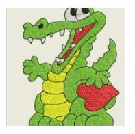 Green Gator with Heart Embroidered Patch - EH Patches
