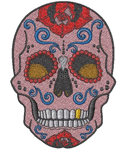 Pink Sugar Skull Embroidered Patch