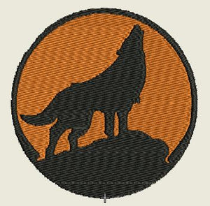 Wolf Scene Howling embroidered Iron On Patch - EH Patches
