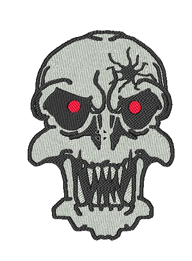 Red Eyed Skull Embroidered Patch