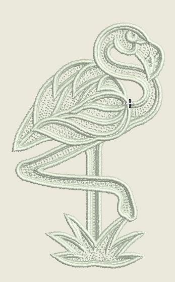 Lace Flamingo Embroidered Patch - EH Patches