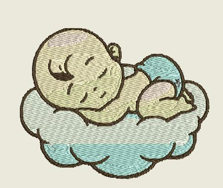 Baby sleeping on Cloud Embroidered Iron On Patch - EH Patches