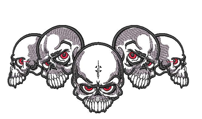 Five Skull Embroidered Patch