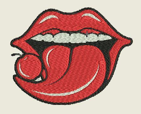 Cherry Tongue Embroidered Patch - EH Patches
