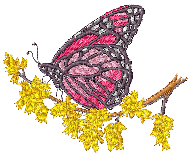 Pink Butterfly on Yellow Branches Embroidered Patch