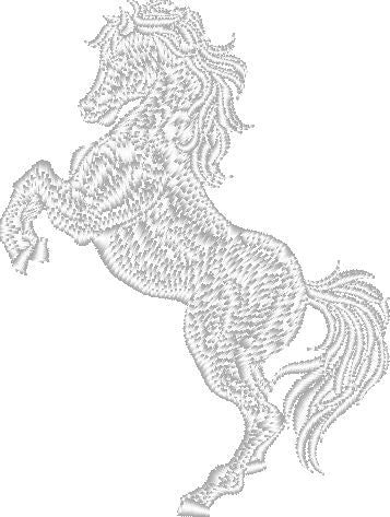 Rearing White Horse Embroidered Patch - EH Patches