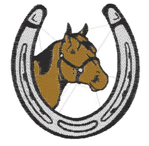 Horse with Horse Shoe Embroidered Patch