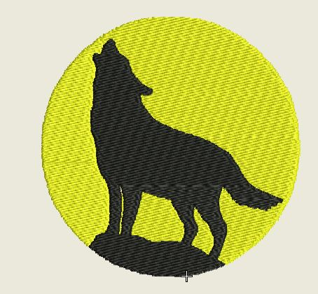 Round Yellow Wolf No Border Embroidered Patch - EH Patches