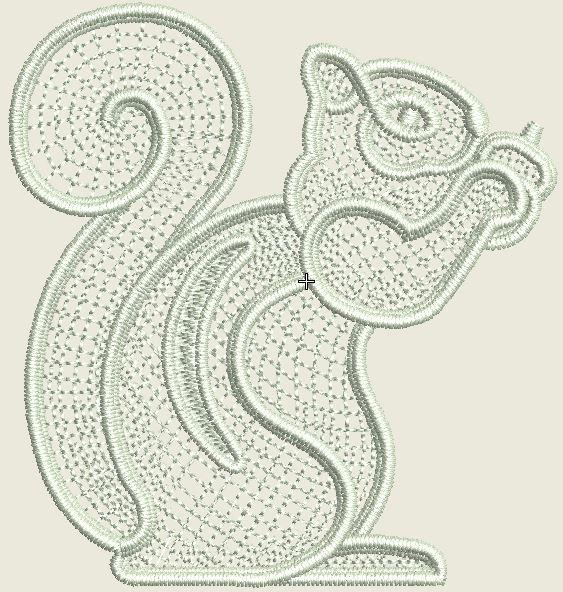 Lace Squirrel Embroidered Patch - EH Patches