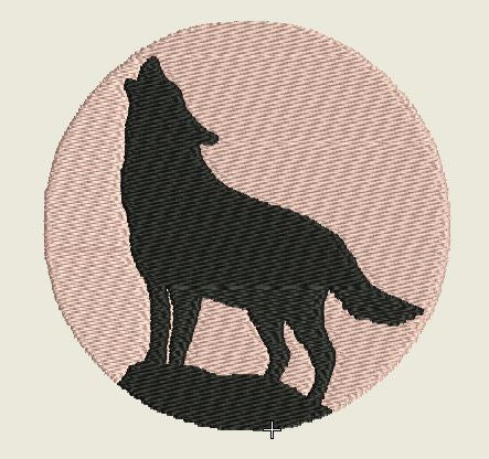 Round Pink Wolf No Border Embroidered Patch - EH Patches