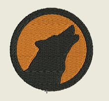 Load image into Gallery viewer, Wolf Howling Orange Background Round Embroidered Patch - EH Patches