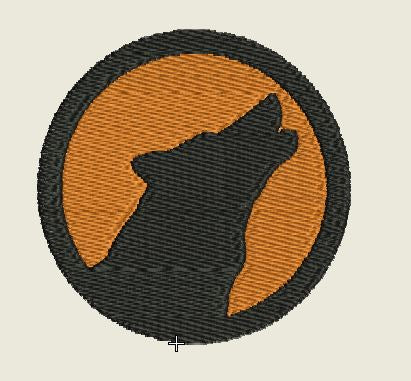 Wolf Howling Orange Background Round Embroidered Patch - EH Patches