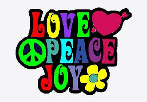 Love, Peace and Joy Embroidered Iron On Patch - EH Patches