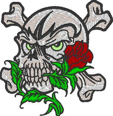 Rose in Skull Embroidered Patch - EH Patches
