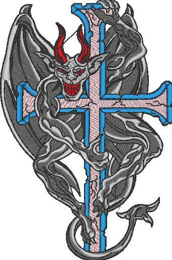 Devil Cross Skull Embroidered Patch - EH Patches