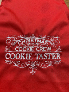 Christmas Cookie Crew Cookie Taster Kids Red Apron