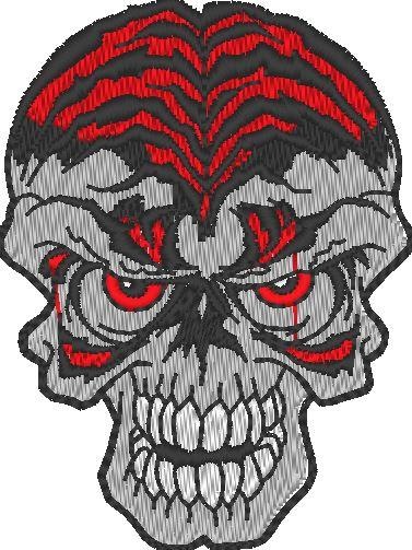 Skull Red Embroidered Patch - EH Patches