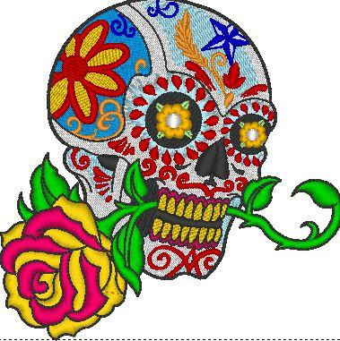 Skull with Flower Embroidered Patch - EH Patches
