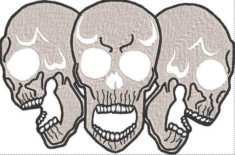 Three Skull Embroidered Patch - EH Patches