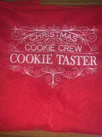 Load image into Gallery viewer, Christmas Cookie Crew Cookie Taster Red Apron - EH Patches