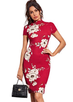 Northern Flower Bodycon Dress (Red,Blue,Black)