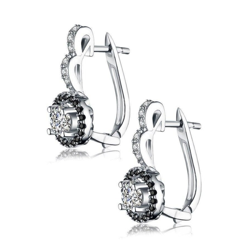 Black Nova Silver Hoop Earrings