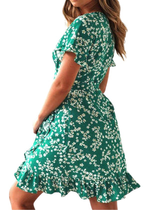 CALLA Green Floral Print Mini Dress