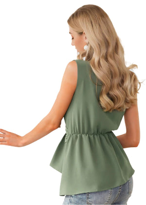Always In Motion Green Sleeveless Top