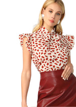 Busy Days Red Print Blouse