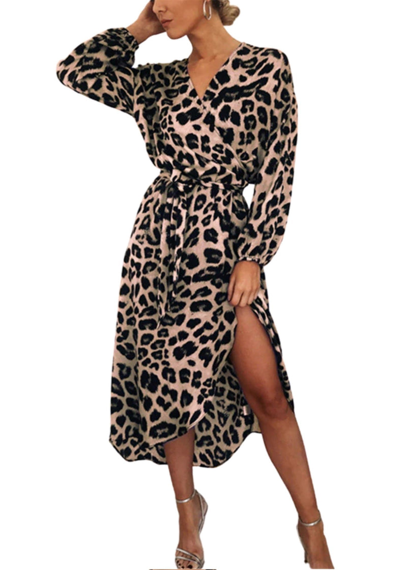 Leopard Chiffon Long Beach Dress
