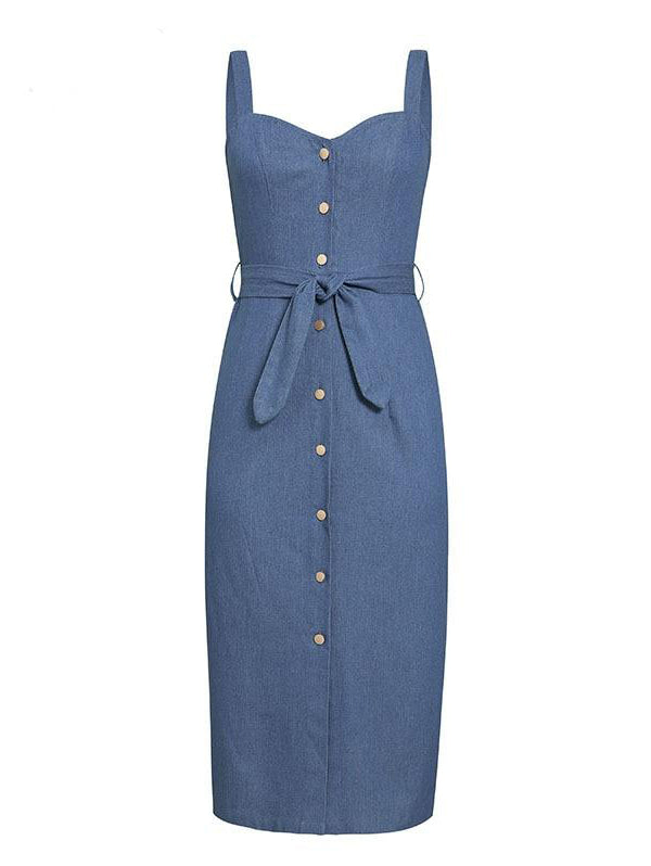JEAN Denim Spaghetti Strap Dress
