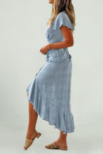 SKY Light Blue High Slit Maxi Dress