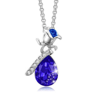 Rhodium Plated Crystal Rose Necklace