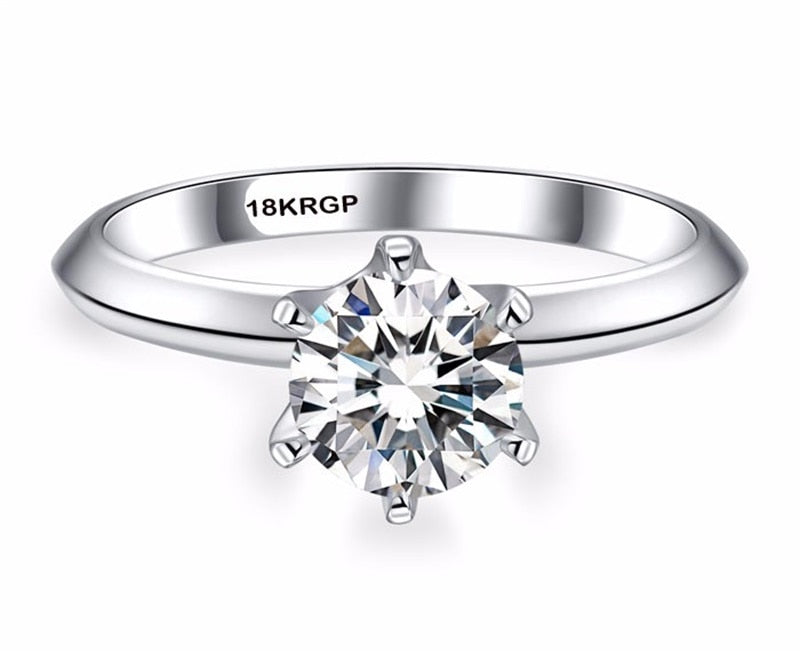 LUX Classic 1 Carat CZ Solitaire 18KRGP White Gold Ring