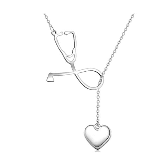 Stethoscope Heart Pendant Necklace