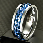 Rotatable Chain Inlay Rings