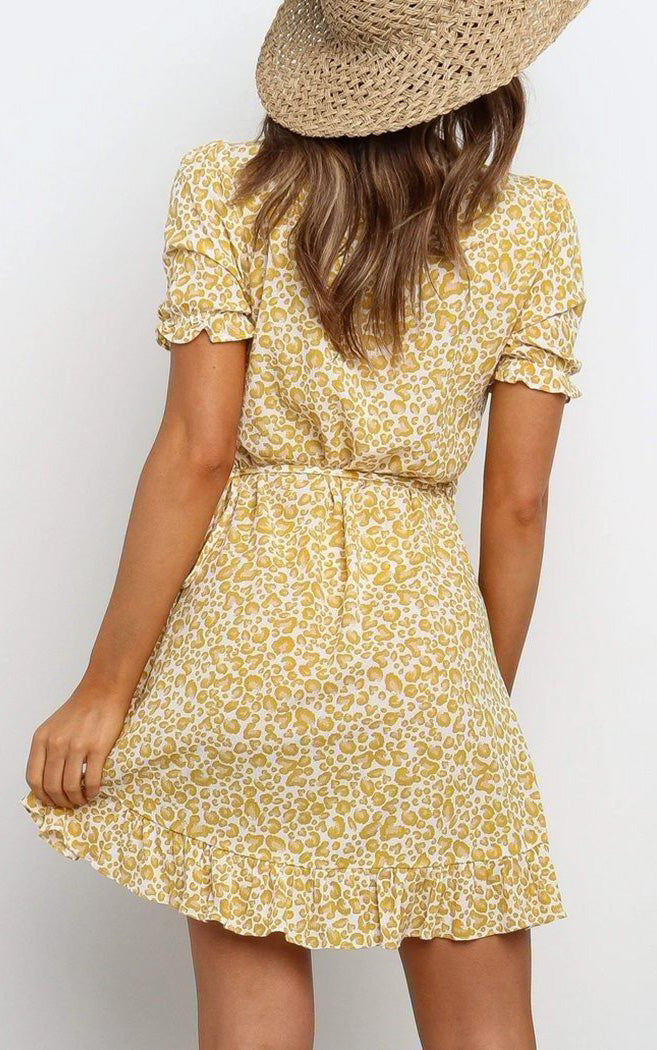 SUNSHINE Yellow Floral Print Mini Dress