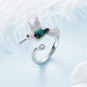 Crystal Hummingbird Ring