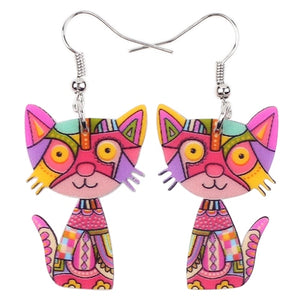 Pop Art Cat Acrylic Earrings