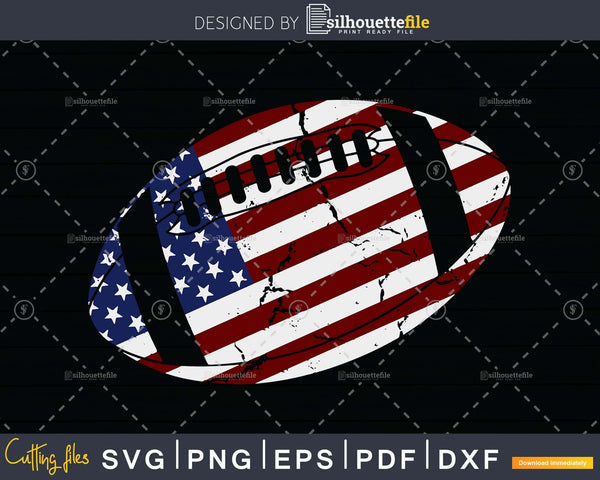 American Football 4th July Flag Patriotic svg png dxf cricut