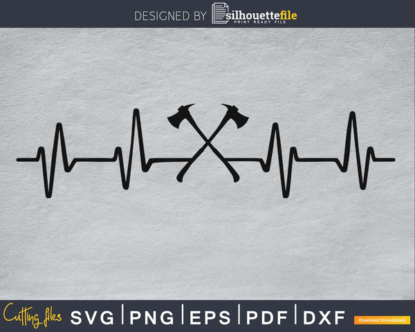 Axes Heartbeat Firefighter svg cricut cut Instant download