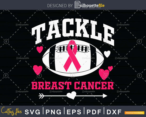 Breast Cancer Awareness Tackle Football svg print-ready cut