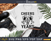 Cheers and Beers 27th Birthday Shirt Svg Design Cricut