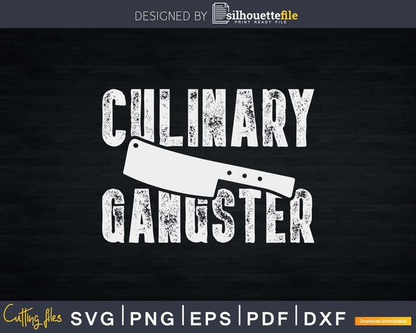 Chef Cook Cooking Culinary Gangster Vintage Svg Design Cut