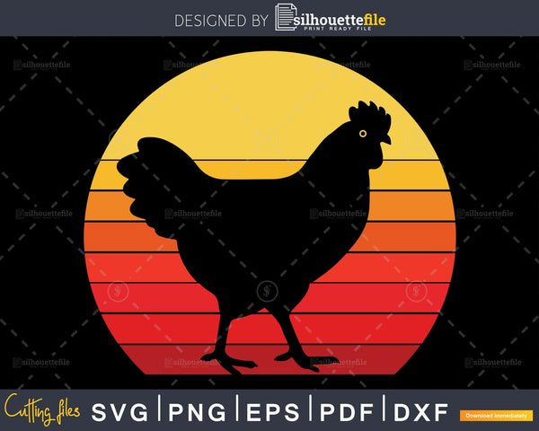 Chicken Retro Style cricut svg cut cutting file