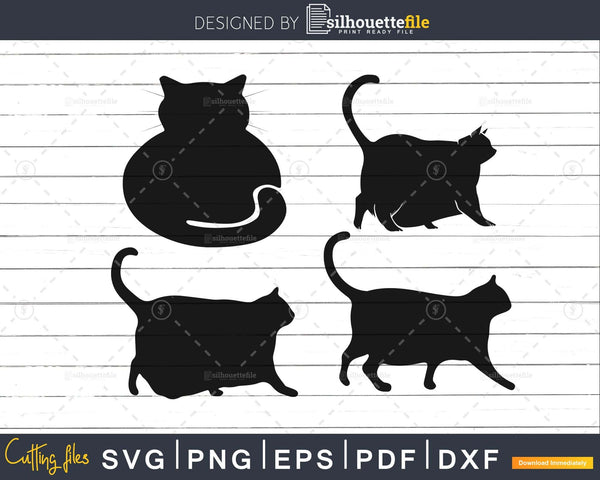 Chonk cat silhouette digital svg png eps cut files