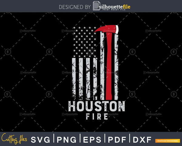 City of Houston Fire Department Texas Firefighter svg cut
