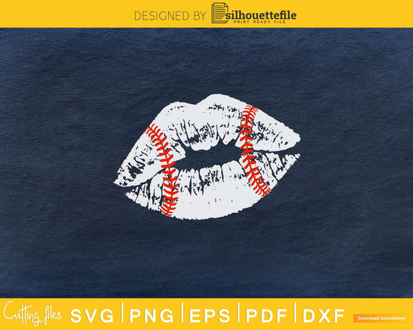 Distressed baseball lips svg png digital cutting files