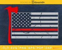 Distressed Patriot Thin Red Line American Flag Firefighter