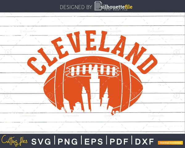 Downtown Ohio Cleveland Skyline Football svg png dxf cutting